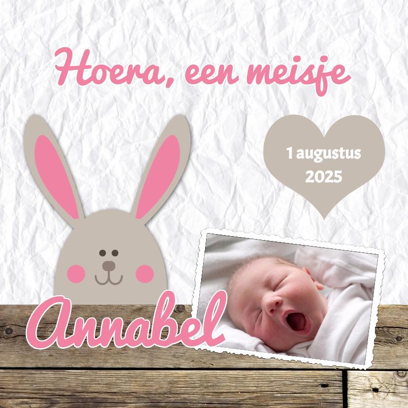 Geboortekaartjes - Lieve kaart met konijn - DH