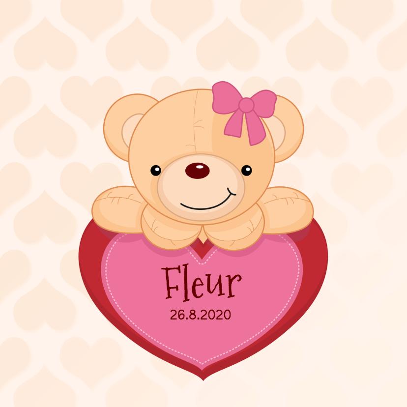 Geboortekaartjes - Meisje geboren - beer met hart