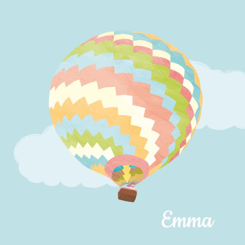 Geboortekaartjes - Meisje in kleurige luchtballon