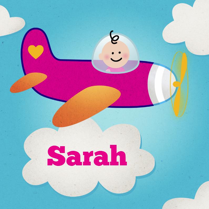 Geboortekaartjes - Meisje vliegtuig