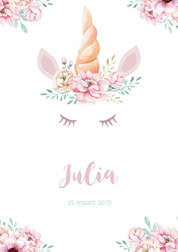 Geboortekaartjes - Meisjes geboortekaartje lieve unicorn