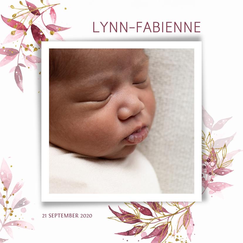 Geboortekaartjes - Meisjes geboortekaartje met waterverf bloemen