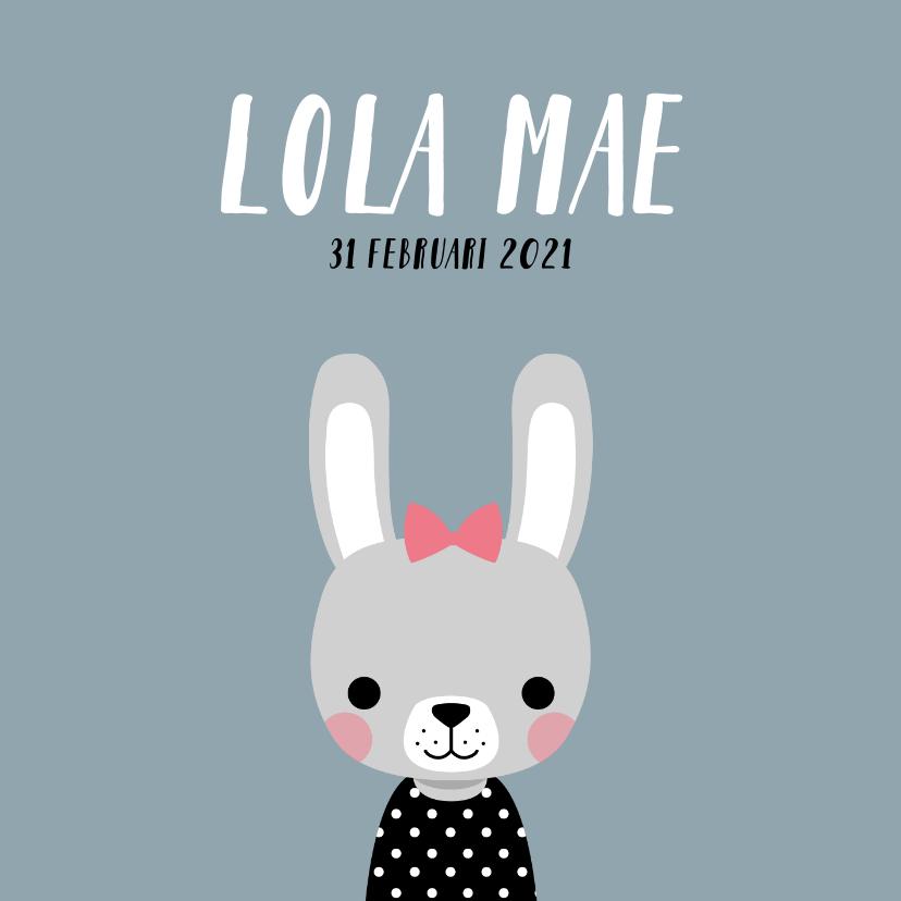 Geboortekaartjes - Minimalistisch geboortekaartje met illustratie van konijn