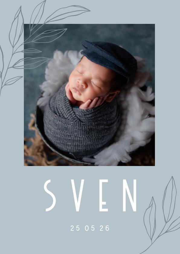 Geboortekaartjes - Minimalistisch geboortekaartje met takje en foto