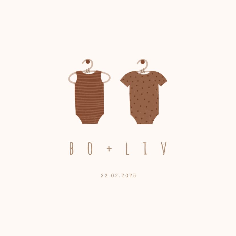 Geboortekaartjes - Minimalistisch geboortekaartje tweeling met 2 rompertjes