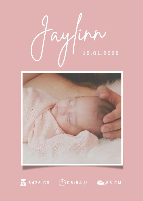 Geboortekaartjes - Minimalistisch roze geboortekaartje meisje met foto en naam