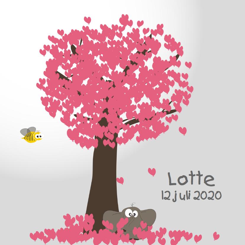 Geboortekaartjes - Mo Card olifant geboortekaartje hartje