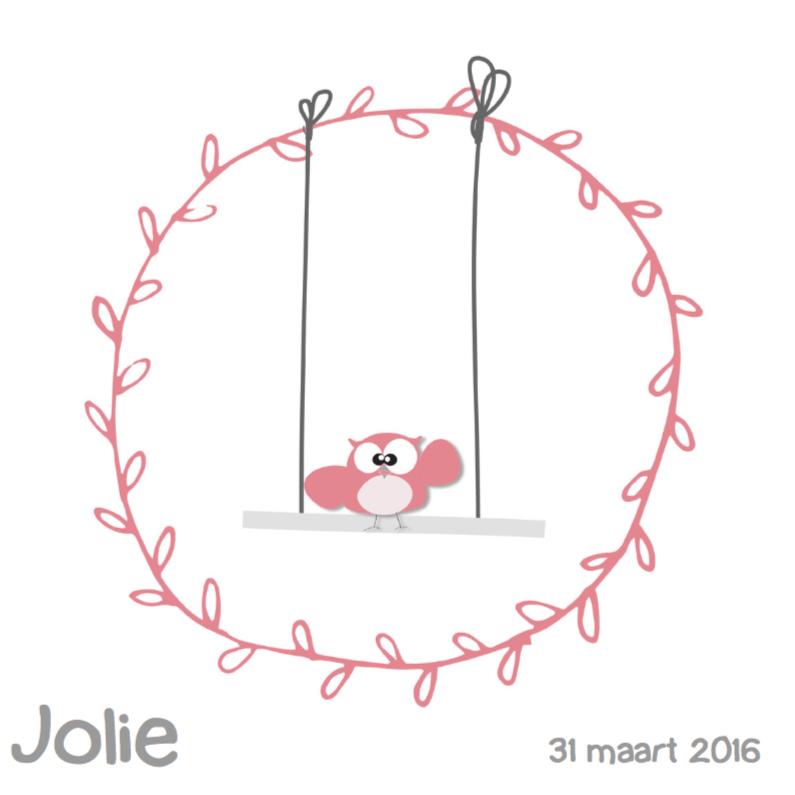 Geboortekaartjes - Mo Cards uil schommel in cirkel