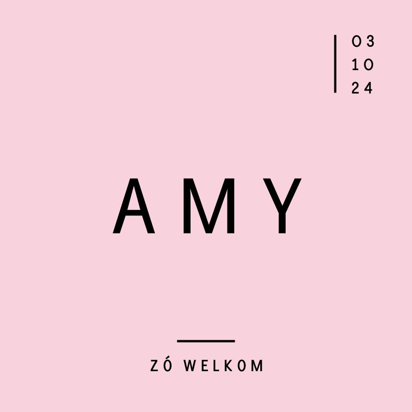 Geboortekaartjes - Modern geboortekaartje met strakke typografie en roze kleur