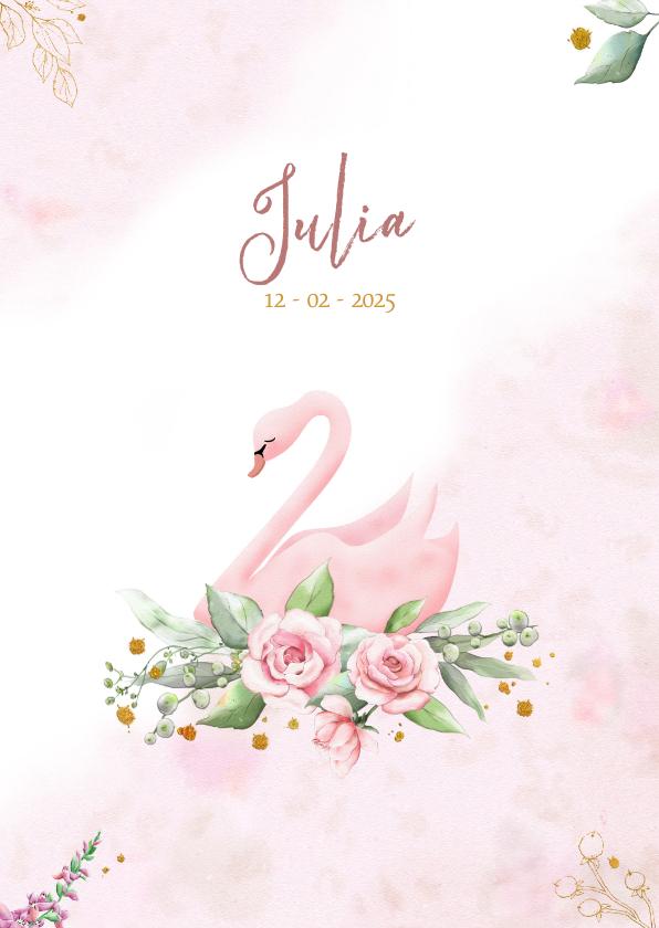 Geboortekaartjes - Mooie geboortekaart met zwaan en roosjes