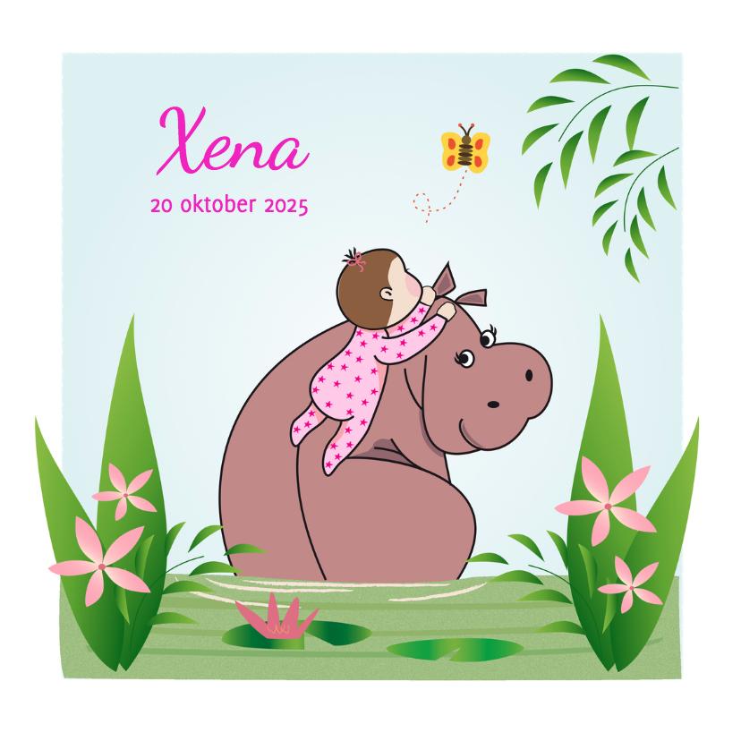 Geboortekaartjes - Nijlpaard met babygirl