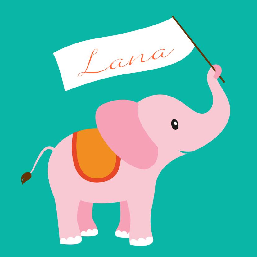 Geboortekaartjes - olifant meisje