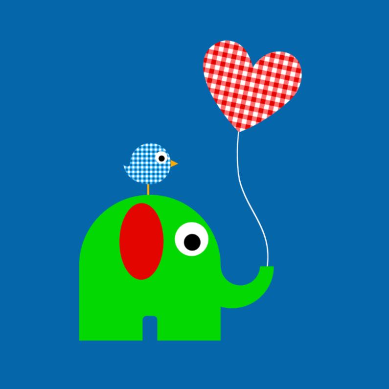 Geboortekaartjes - Olifant met ballon jongen