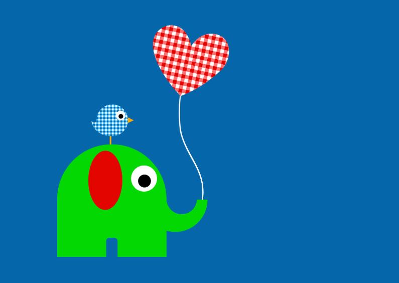 Geboortekaartjes - Olifant met ballon liggend