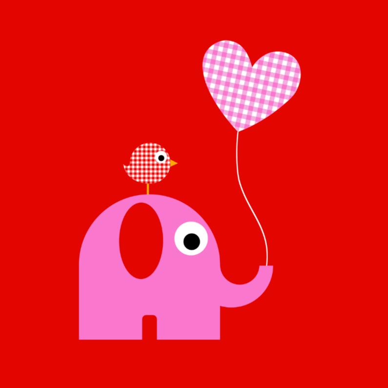 Geboortekaartjes - Olifantje met ballon meisje