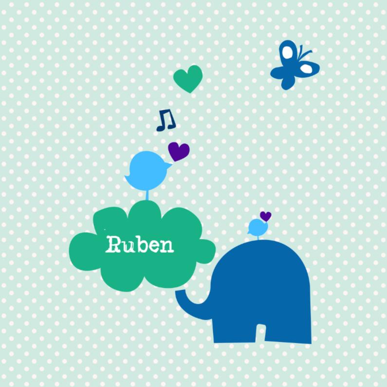 Geboortekaartjes - Olifantje met naamwolkje