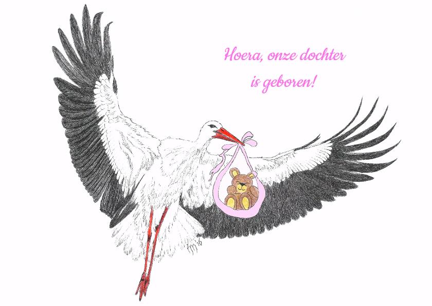 Geboortekaartjes - Ooievaar met knuffelbeertje