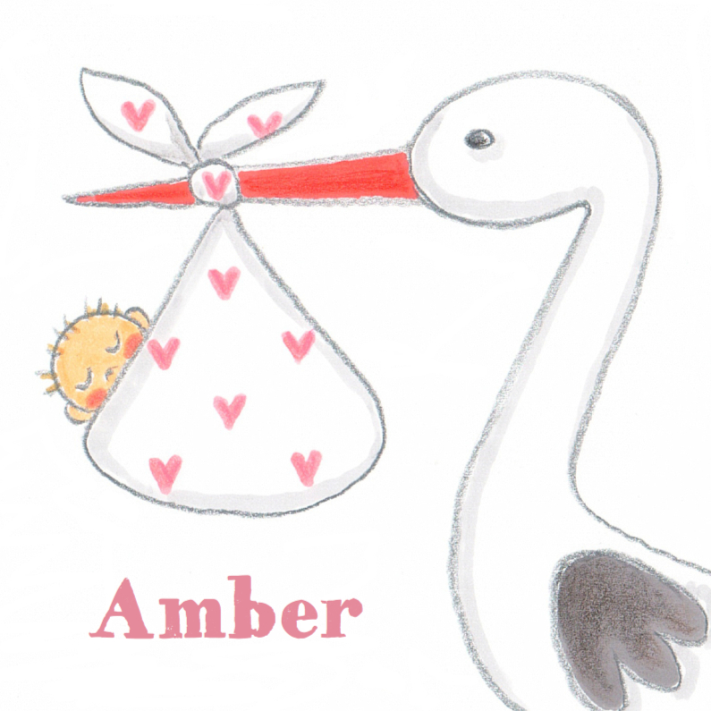 Geboortekaartjes - Ooievaar met meisje in draagdoek