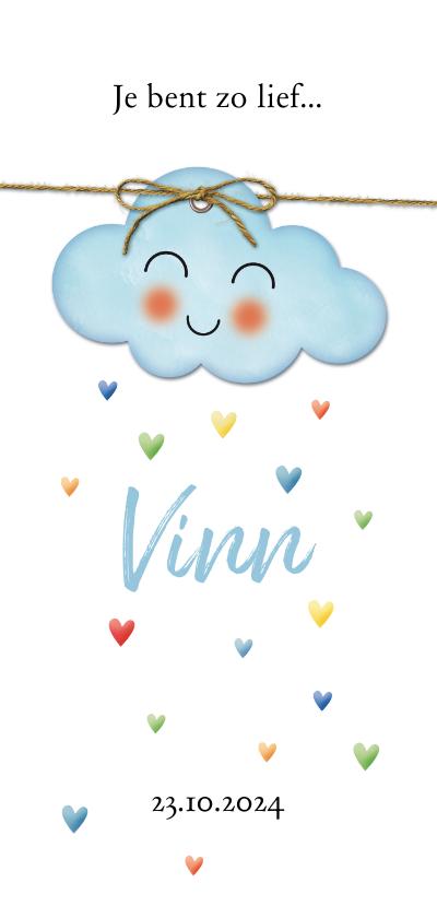Geboortekaartjes - Op een blauwe wolk hartjes regen geboorte dubbel
