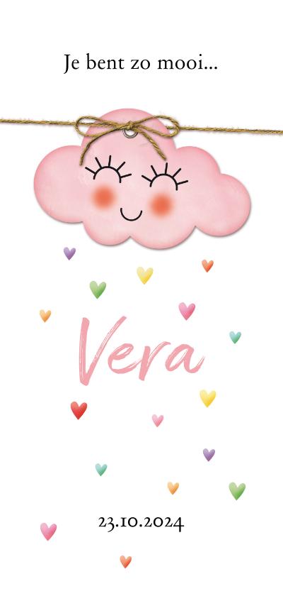 Geboortekaartjes - Op een roze wolk met hartjes regen geboorte dubbel