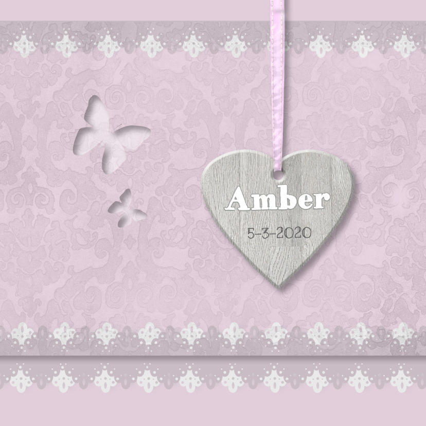 Geboortekaartjes - Oudroze barok, vlinders en kant