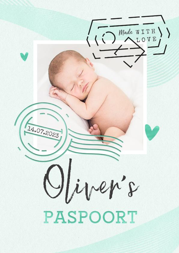 Geboortekaartjes - Paspoort geboortekaartje unisex mintgroen made with love