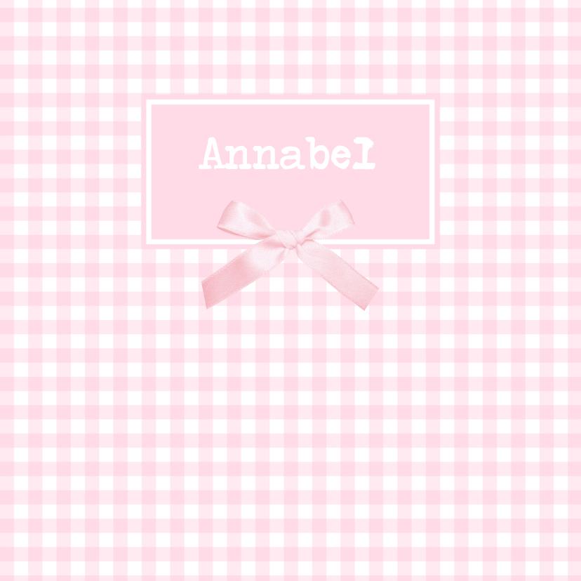Geboortekaartjes - Pastel Geboortekaartje Strikje Annabel