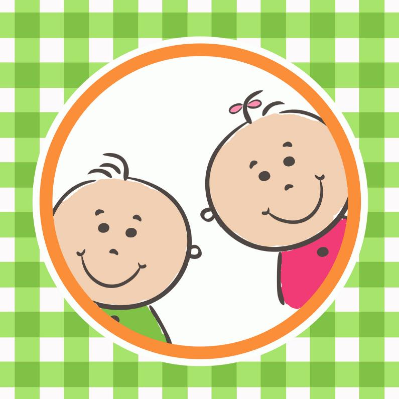 Geboortekaartjes - Pinkie puk tweeling jongen-meisje