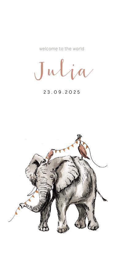Geboortekaartjes - Prachtig geboortekaartje met illustratie van olifant in inkt