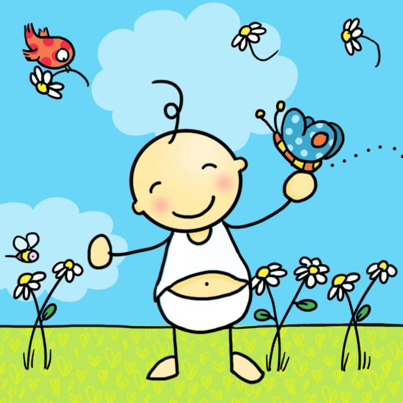 Geboortekaartjes - Prachtige babykaart met vlinder