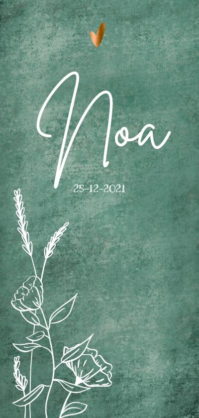 Geboortekaartjes - Puur geboortekaartje met wilde bloemen en bronzen hartjes
