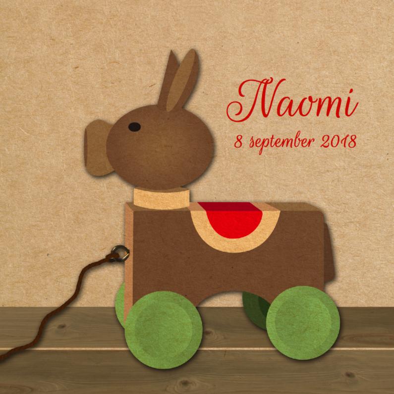 Geboortekaartjes - retro houten ezeltje rood