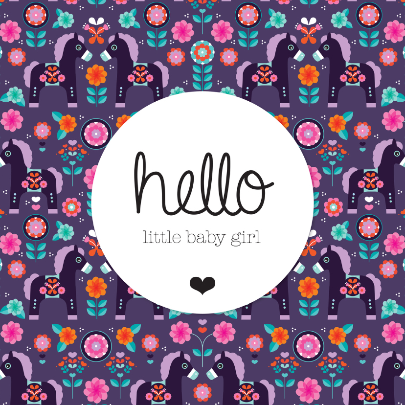 Geboortekaartjes - Retro paard geboorte meisje