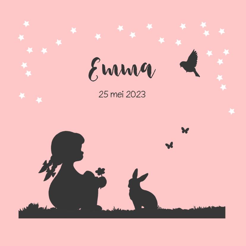 Geboortekaartjes - Romantisch geboortekaartje met een silhouet meisje en dieren