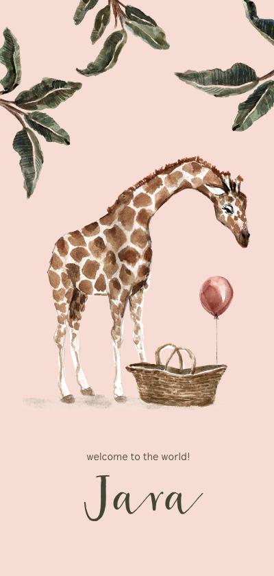 Geboortekaartjes - Roze geboortekaartje giraf en baby mandje