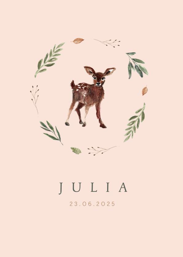 Geboortekaartjes - Roze geboortekaartje illustratie hertje met krans van takjes