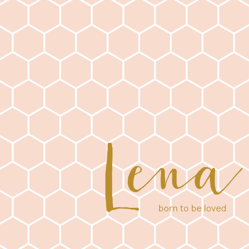 Geboortekaartjes - Roze geboortekaartje met een wit honingraat patroon