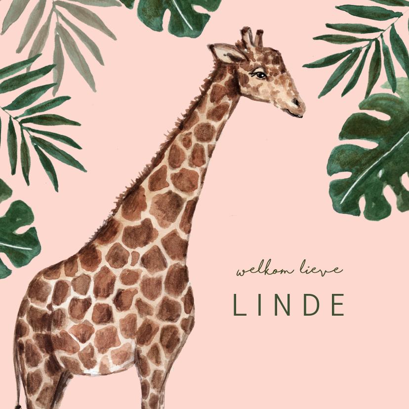 Geboortekaartjes - Roze geboortekaartje met giraffe en groene bladeren