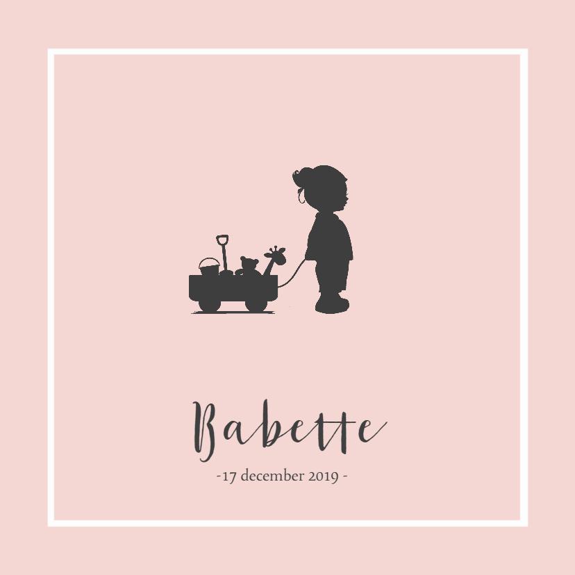 Geboortekaartjes - Roze geboortekaartje silhouet