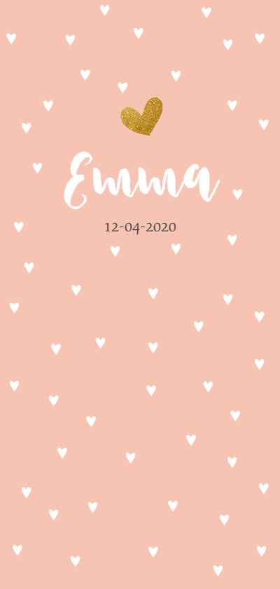Geboortekaartjes - Roze met witte hartjes