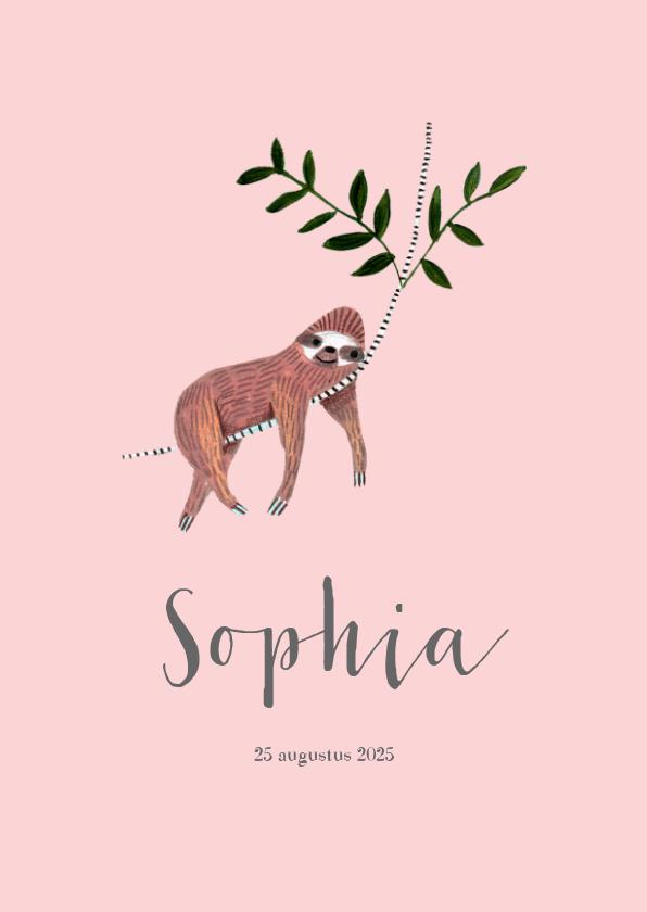 Geboortekaartjes - Schattig geboortekaartje roze met trendy luiaard dieren