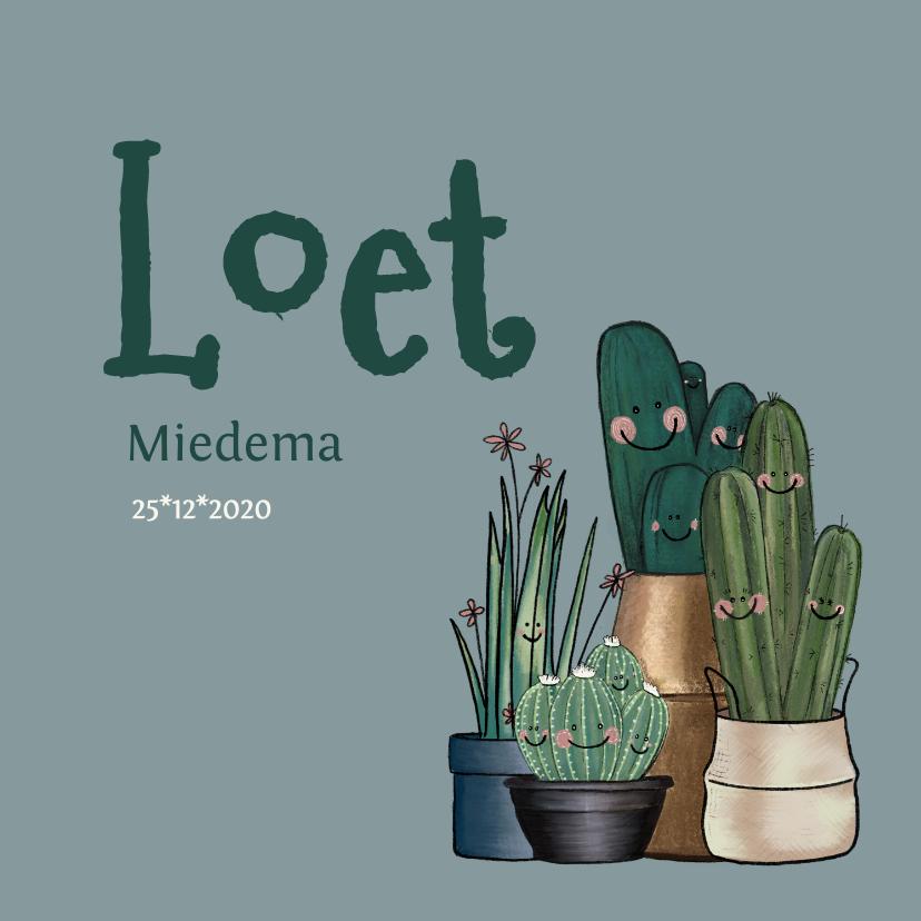 Geboortekaartjes - Schattig neutraal geboortekaartje met cactussen