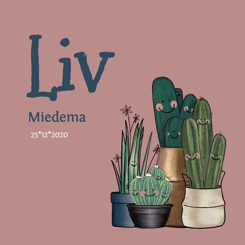 Geboortekaartjes - Schattig roze geboortekaartje met cactussen en bloemen