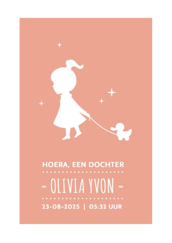 Geboortekaartjes - Silhouet geboorte meisje eend