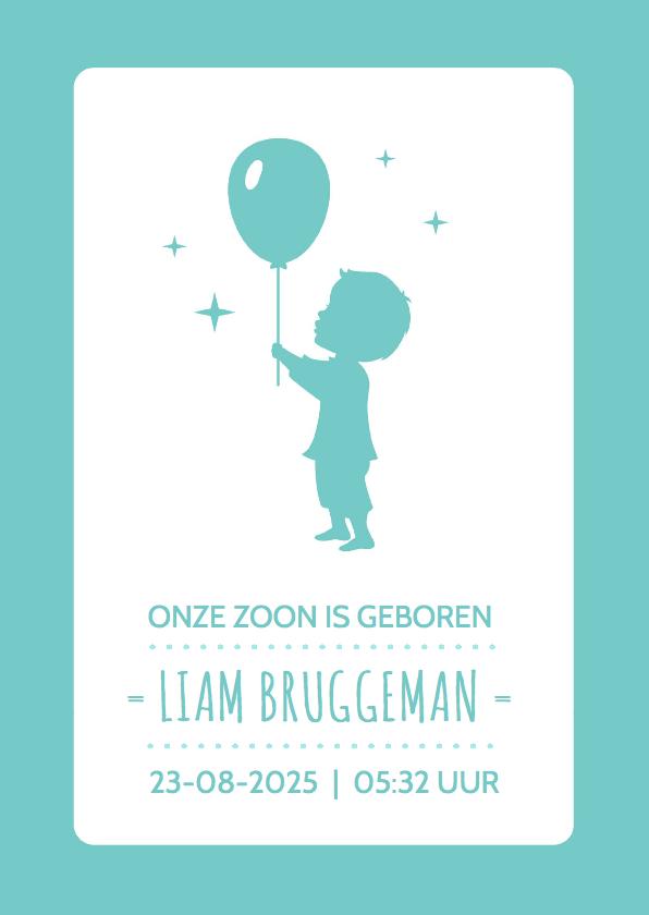 Geboortekaartjes - Silhouet Jongen ballon staand