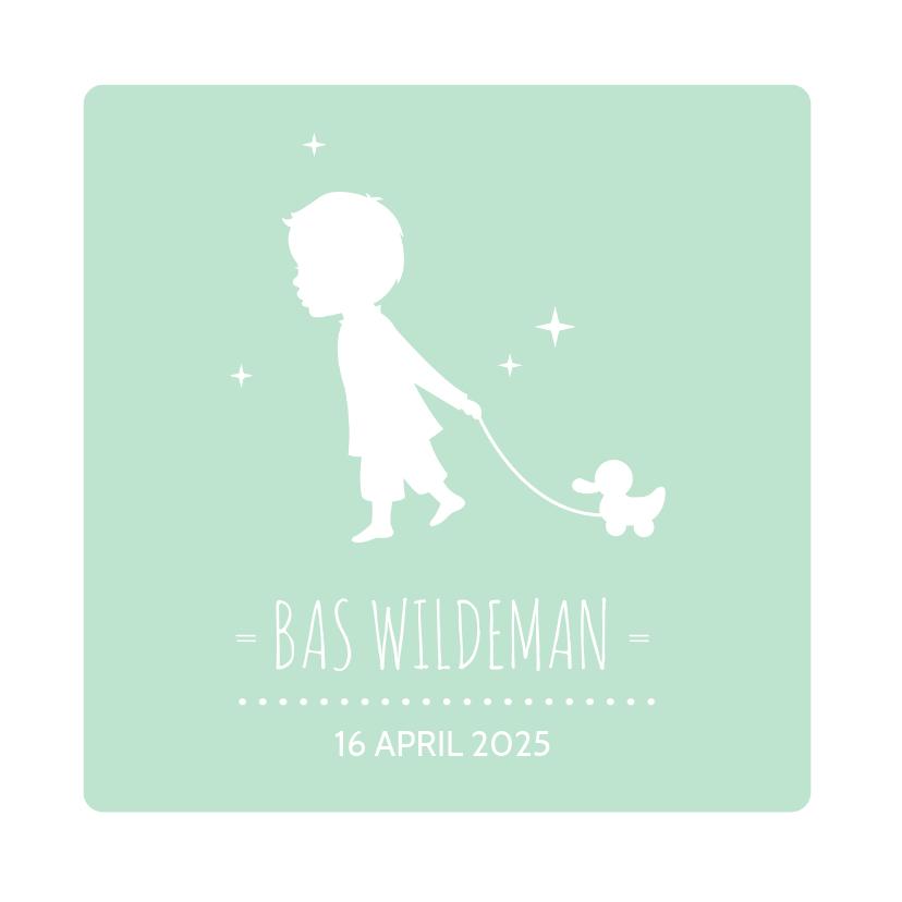 Geboortekaartjes - Silhouet Trekeend Jongen groen