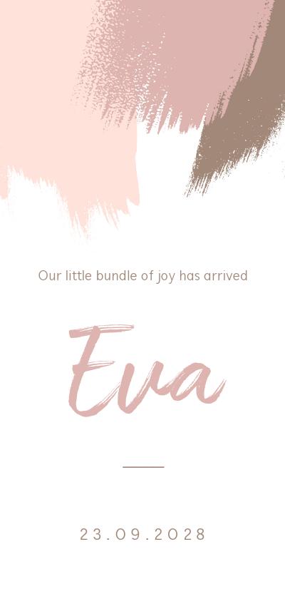 Geboortekaartjes - Staand geboortekaartje met roze en bruine brushes