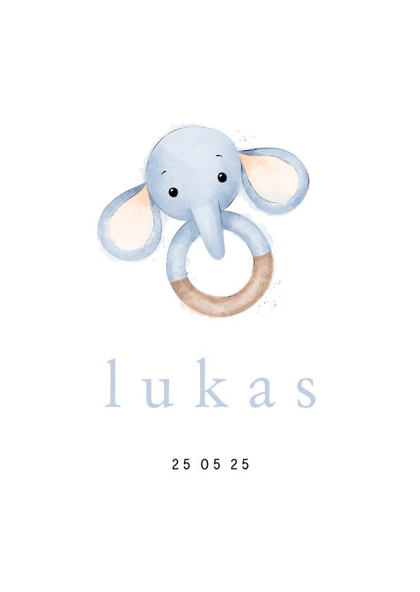 Geboortekaartjes - Stijlvol geboortekaartje bijtring met olifantje