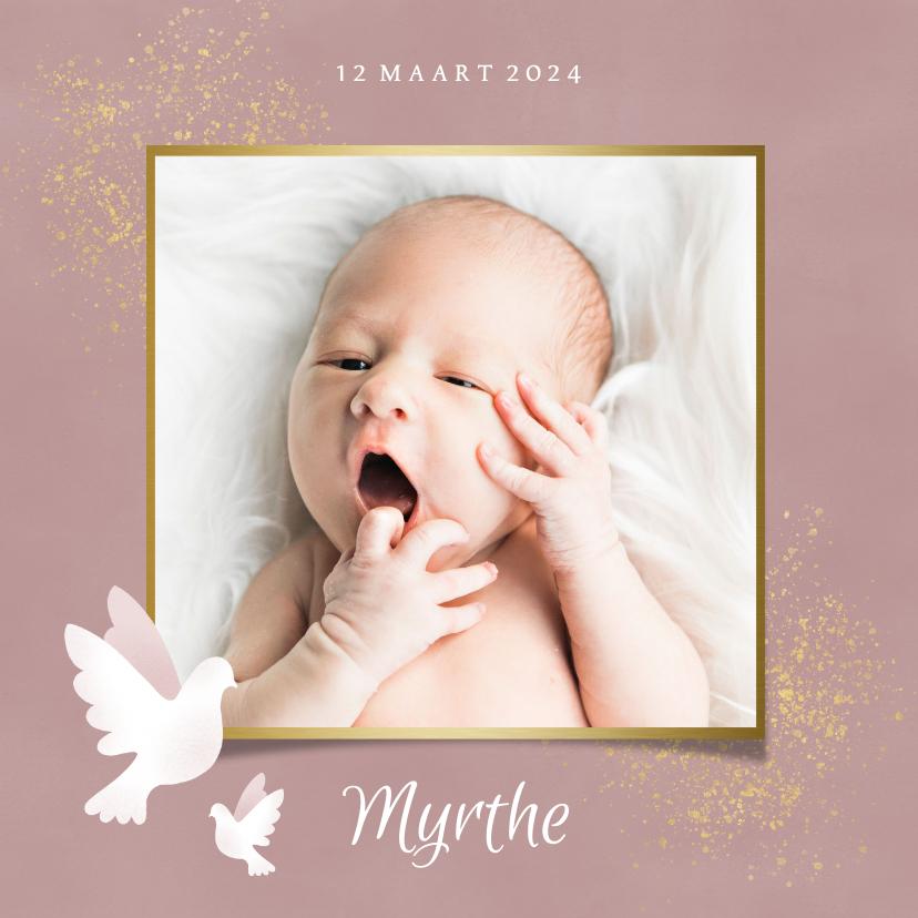 Geboortekaartjes - Stijlvol geboortekaartje duif, gouden spetters en waterverf
