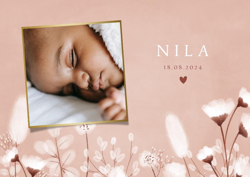 Geboortekaartjes - Stijlvol geboortekaartje met droogbloemen en foto's